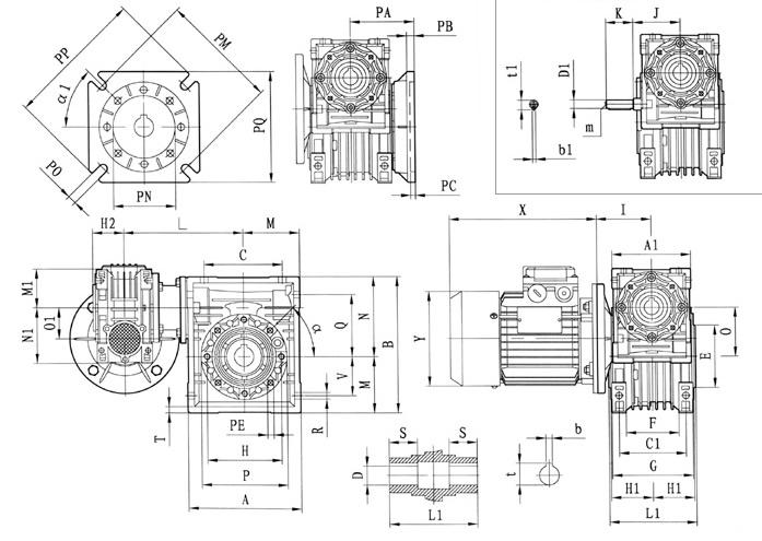 RV双级蜗轮蜗杆减速机外形尺寸图